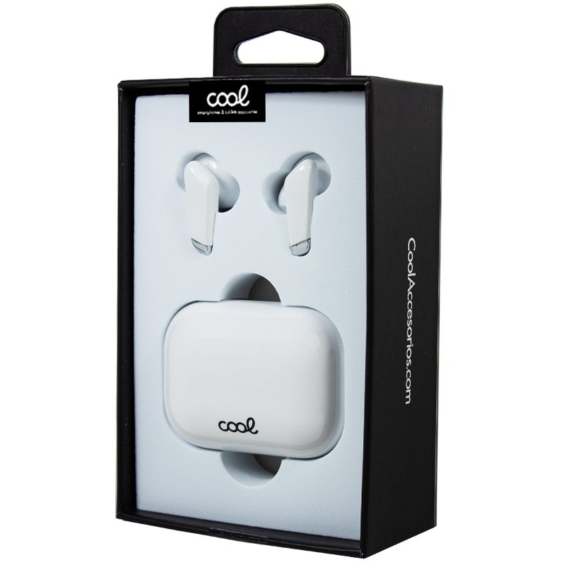 Auriculares Stereo Bluetooth Dual Pod Earbuds COOL URBAN Lcd Blanco