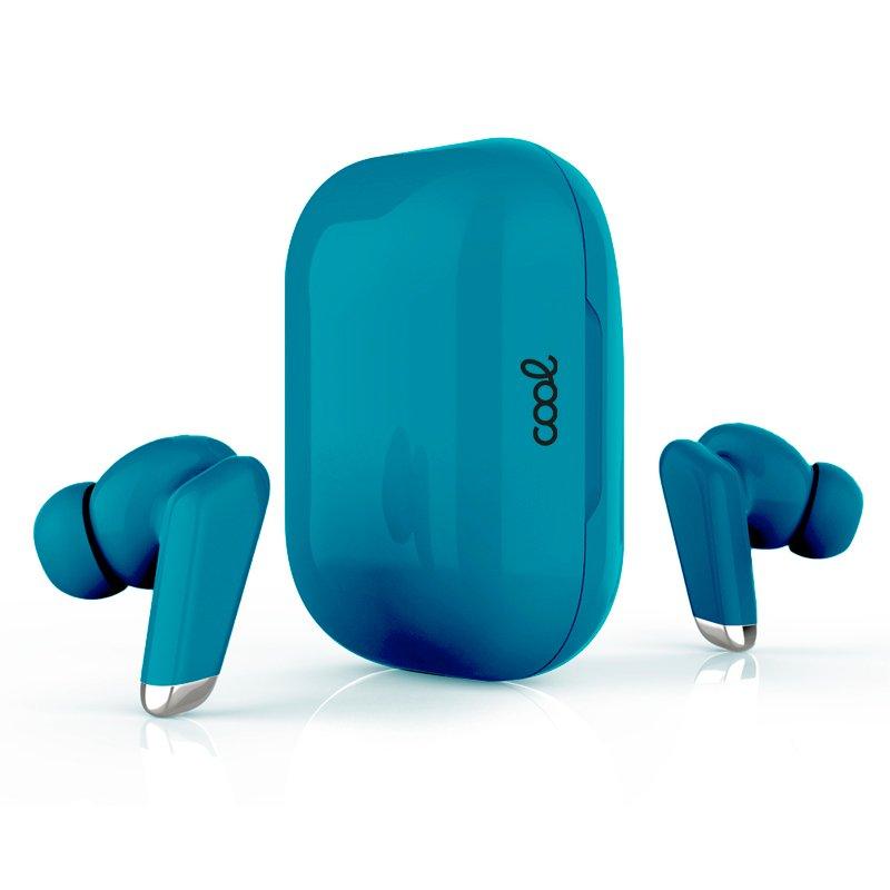 Auriculares Stereo Bluetooth Dual Pod Earbuds COOL URBAN Lcd Aguamarina