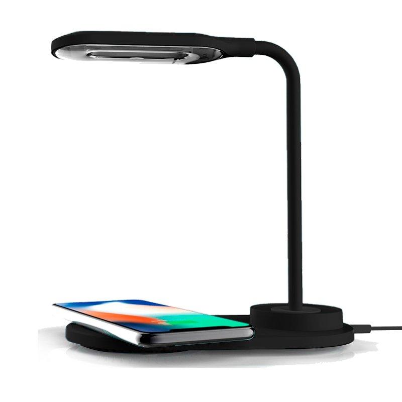 Lámpara LED + Base Carga Inalámbrica Qi COOL Negro